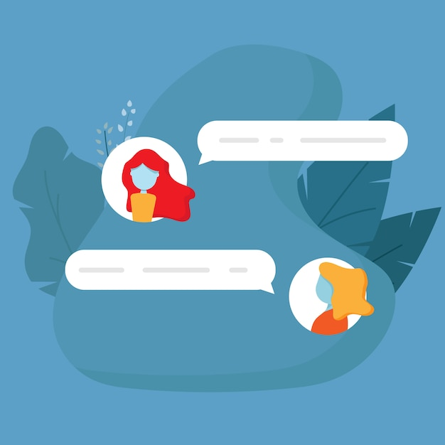 Illustration of chat conversation message flat design vector background Premium Vector