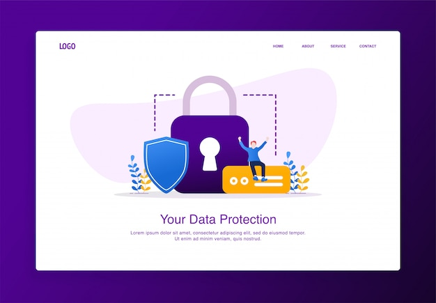Illustration of cheerful man sitting on the external hard disk with padlock and shield. modern flat design security concept, landing page template. Premium Vector
