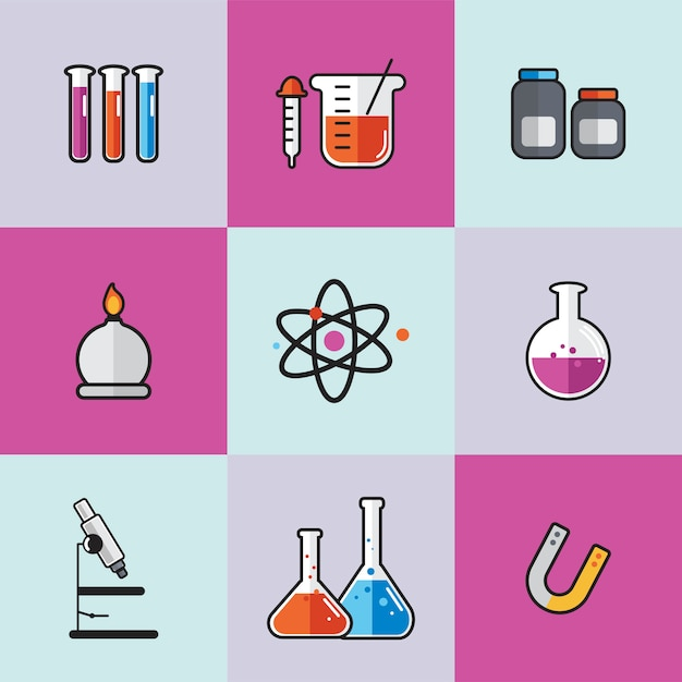 Illustration of chemistry laboratory instruments set Free Vector