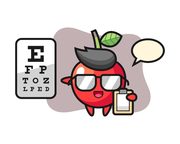 Illustration of cherry mascot as a ophthalmology, cute style design Premium Vector