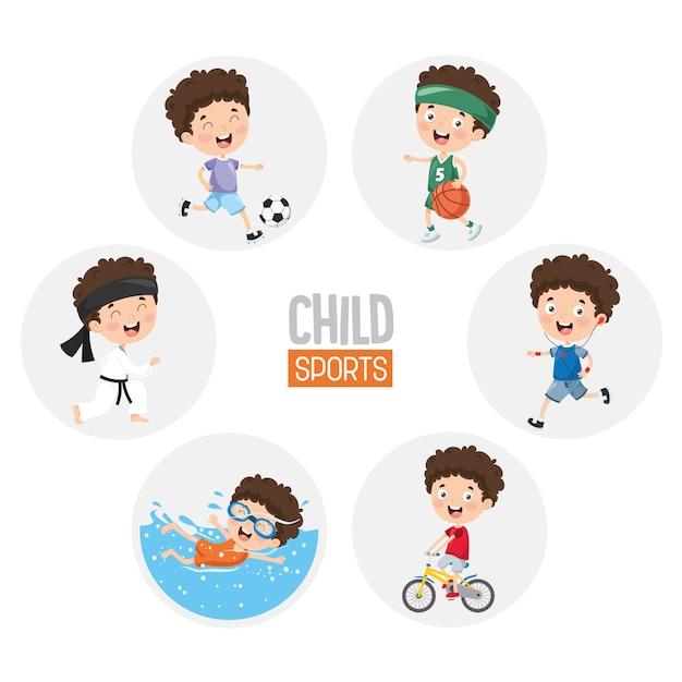 Illustration of child sports Premium Vector
