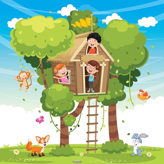 Illustration of children playing at tree house Premium Vector