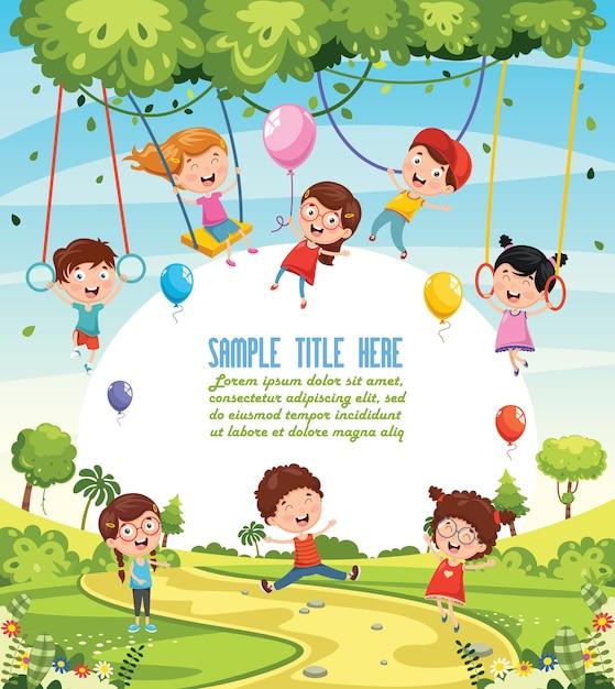 Illustration of children swinging Premium Vector