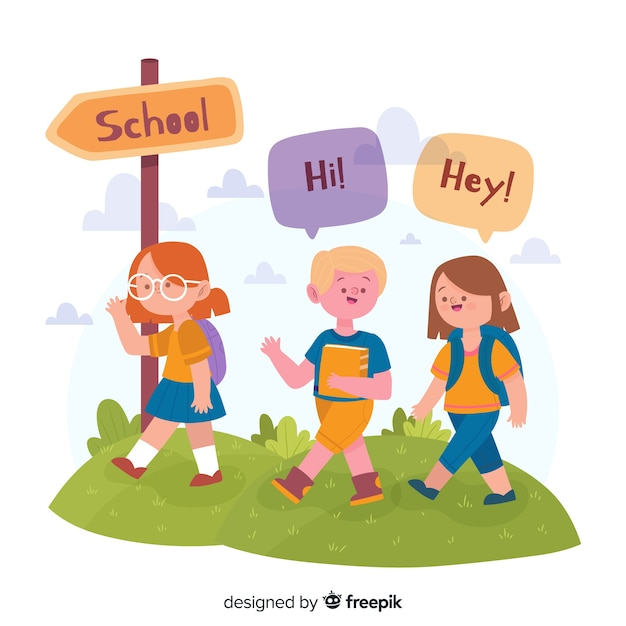 Illustration of children in their first day at school Free Vector