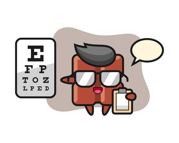 Illustration of chocolate bar mascot as a ophthalmology, cute kawaii style. Premium Vector