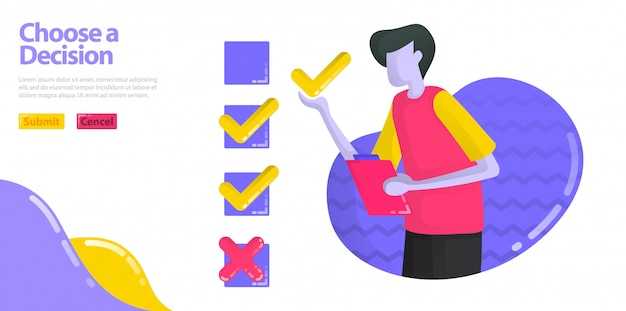 Illustration choose a decision. men are filling out surveys and examinations. specifies the check or cross option. Premium Vector