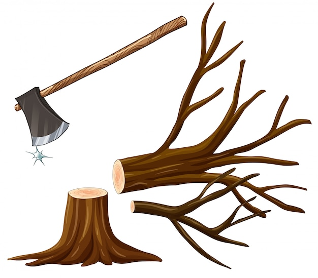 Illustration of chopping wood with axe Free Vector