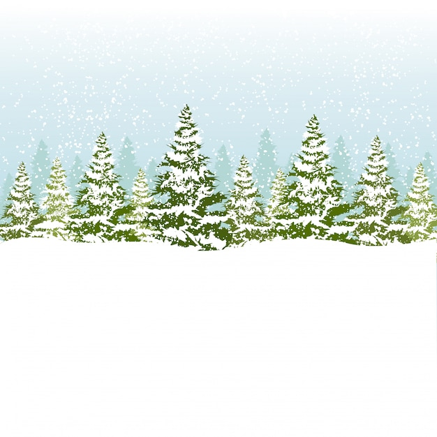 Illustration of christmas forest. Premium Vector