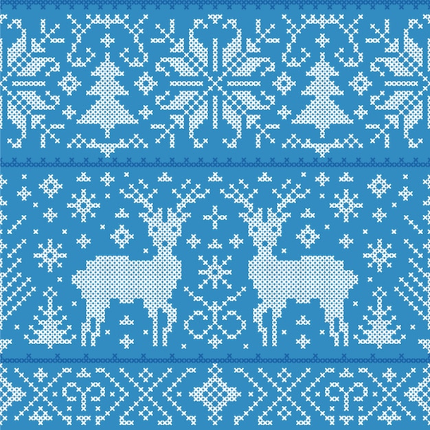 Illustration of christmas seamless pattern with deers, trees and snowflakes Premium Vector