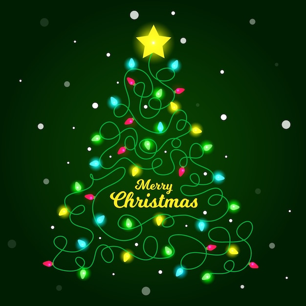 Illustration of christmas tree made of light bulbs Free Vector