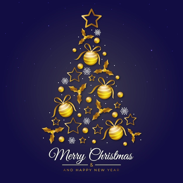 Illustration of christmas tree made of realistic golden decoration Free Vector