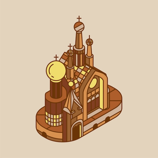 Illustration of church of the savior on blood russia Free Vector