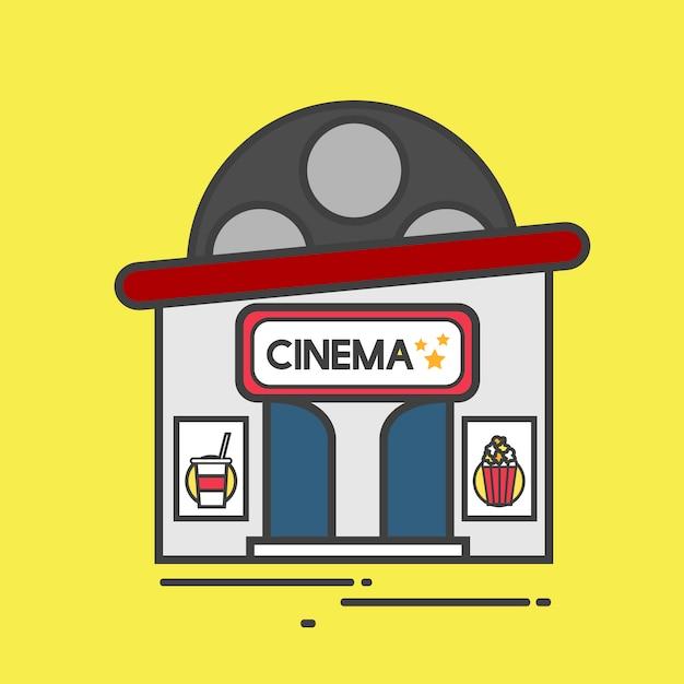 Illustration of a cinema building Free Vector