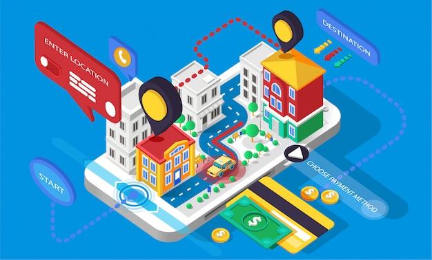 Иллюстрация город инфографика изометрия 3d-приложение для звонка мобильного телефона. желтое такси такси такси хакни перевозки онлайн бизнес финансы смартфон телефонная карточка оплата Premium векторы