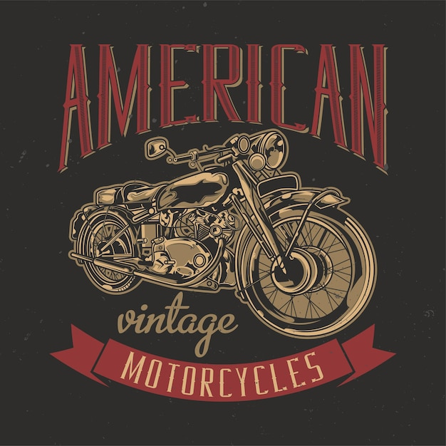 Illustration of classic american motorcycle Free Vector