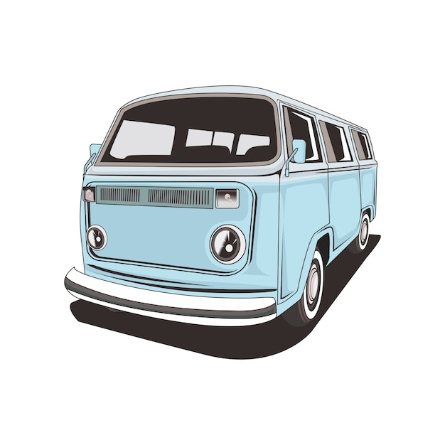 Illustration of a classic camper van Premium Vector