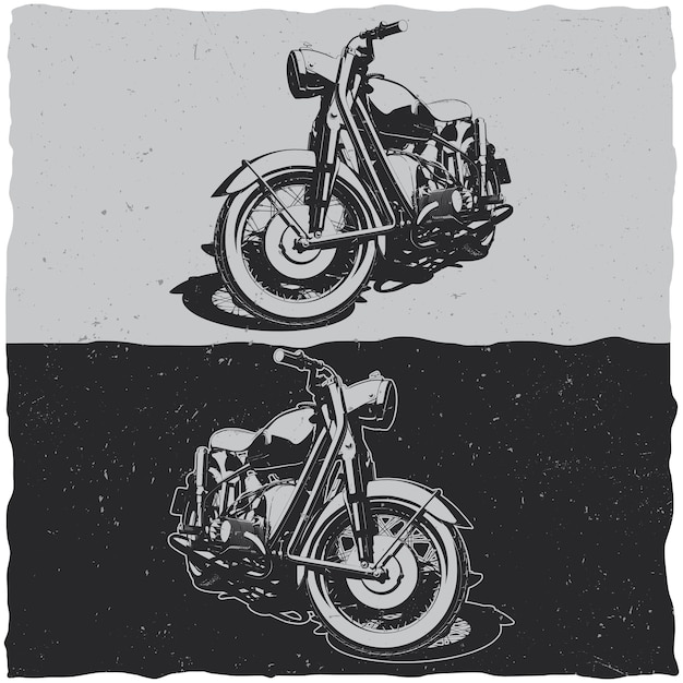 Illustration of classic motorcycles in black and white Free Vector