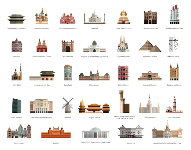 Illustration collection of tourist famous landmarks Free Vector
