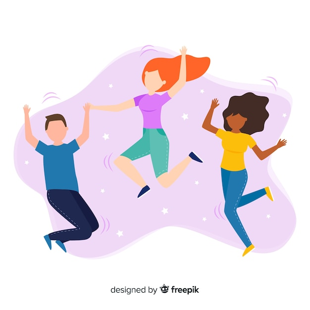Illustration of colorful characters jumping Free Vector
