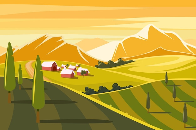 Illustration of colorful countryside landscape Premium Vector
