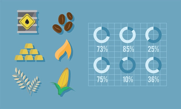 Illustration of commodities Free Vector