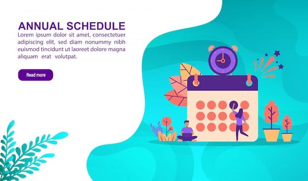 Illustration concept of annual schedule Premium Vector