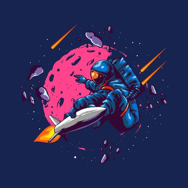 イラストコンセプト宇宙飛行士乗るロケット Premiumベクター