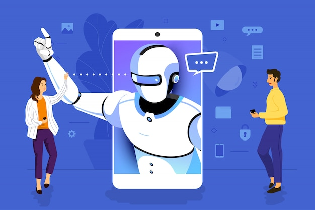 Illustration concept  businessman working to mobile application together building artificial intelligence.  illustrate. Premium Vector