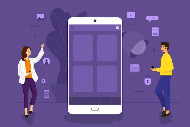 Illustration concept  businessman working to mobile application together building platform.  illustrate. Premium Vector