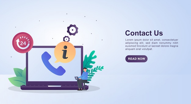 Illustration concept of contact us with the symbol 24 hours marking the service up to 24 hours nonstop. Premium Vector