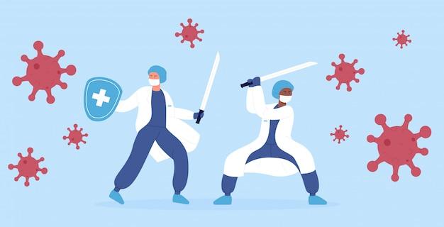 イラストのコンセプト。医師の医療医療専門家忍者チームは、刀を使用してコロナウイルスモンスターのパンデミックと戦っています。 Premiumベクター