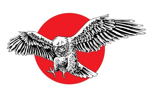 Illustration concept of eagle flying Premium Vector