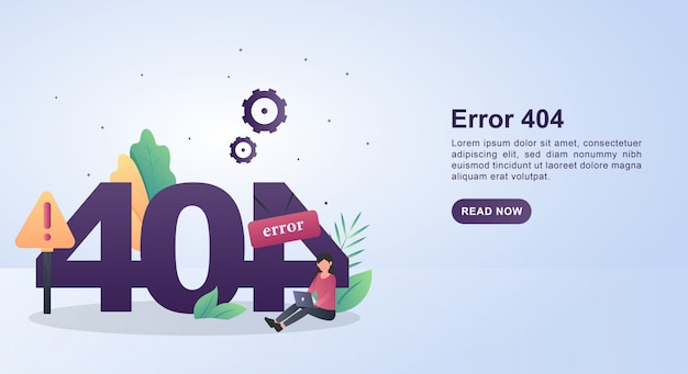 Illustration concept of error 404 with a person holding a laptop. Premium Vector