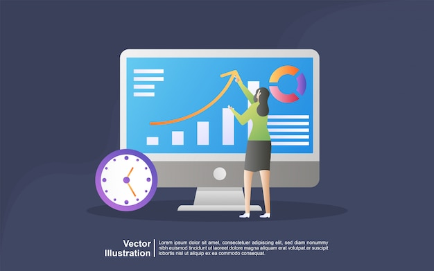 Illustration concept of market search. concept for digital marketing agency Premium Vector