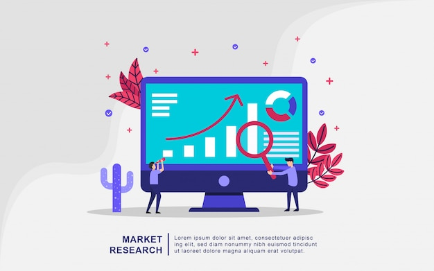 Illustration concept of market search Premium Vector