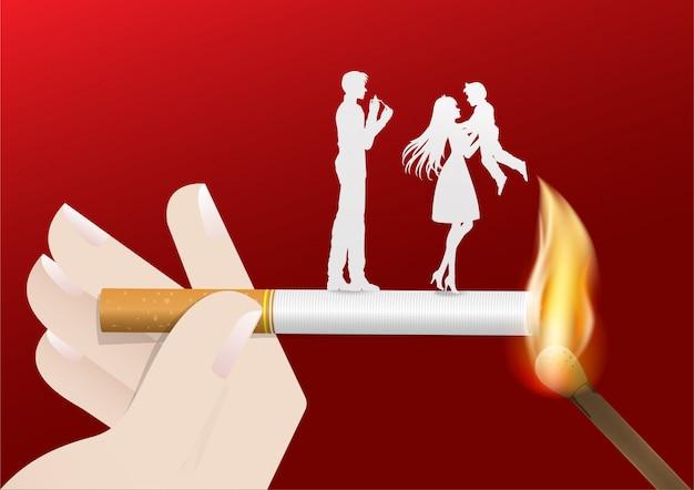 Illustration of concept no smoking day world Premium Vector