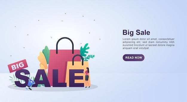 メガホンとバッグの大きな販売のイラストのコンセプトです。 Premiumベクター