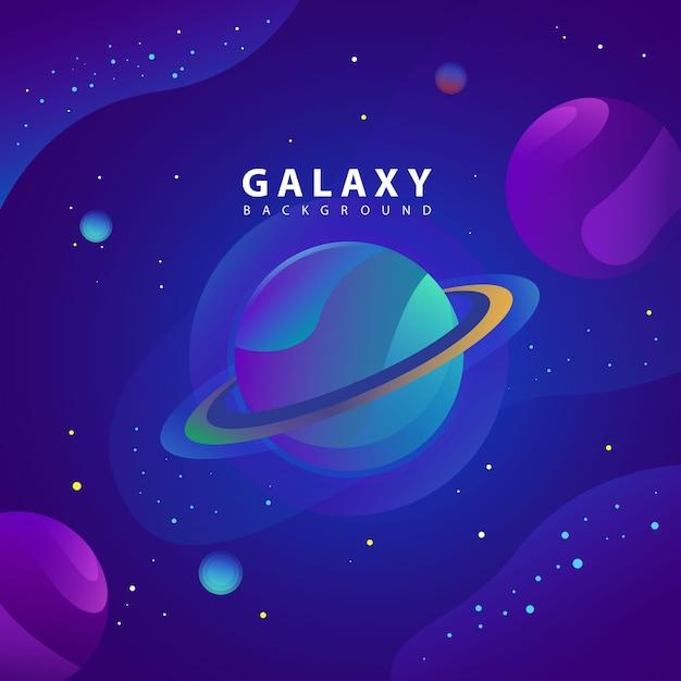 Иллюстрация концепции планеты и галактики Premium векторы