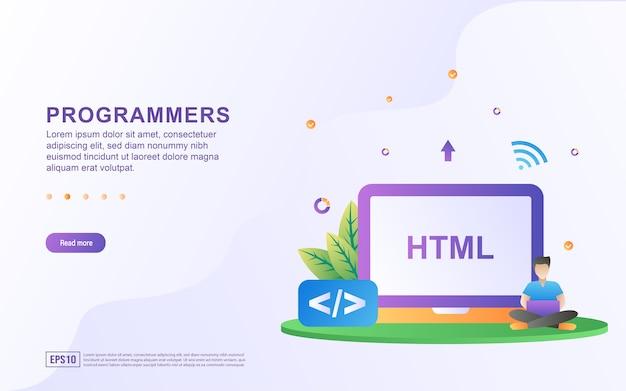 Htmlプログラミング言語を使用したプログラマーの概念図。 Premiumベクター