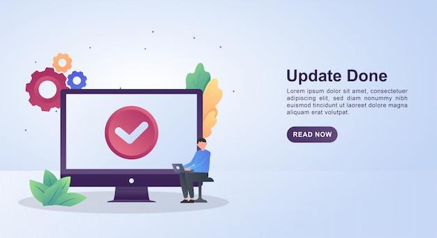 更新が完了したことを示すチェックマークが画面に表示された更新の概念図。 Premiumベクター