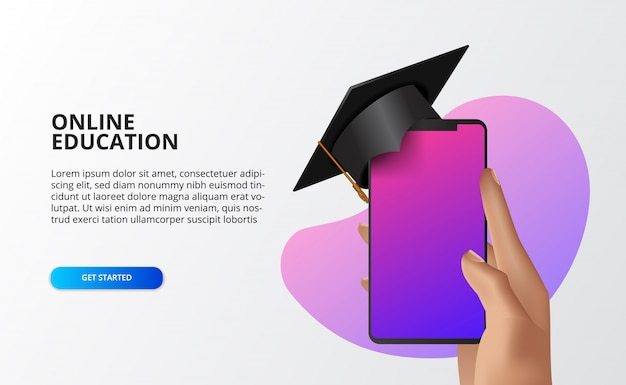 Illustration concept online course with hand holding phone with graduation cap Premium Vector