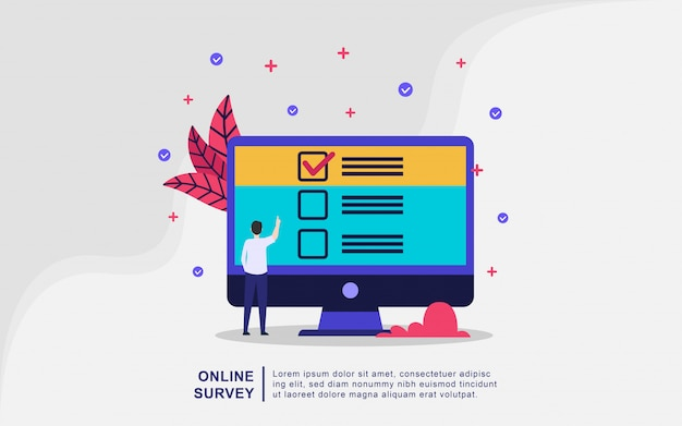 Illustration concept of online support. question and answer survey illustration concept, online survey decorated, survey research concept. modern flat design concept of web page design Premium Vector