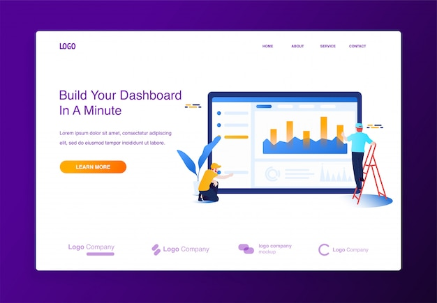 Illustration concept people building website, filling it with content, dashboard interface. Premium Vector