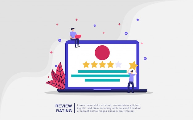 Illustration concept of review rating. people hold star, positive rating, customer review. Premium Vector