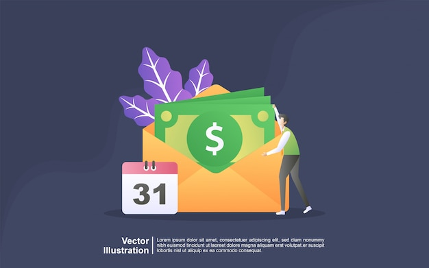 Illustration concept of salary payment. payroll, annual bonus, income concept. can use for, landing page, template, ui, web, mobile app, banner Premium Vector