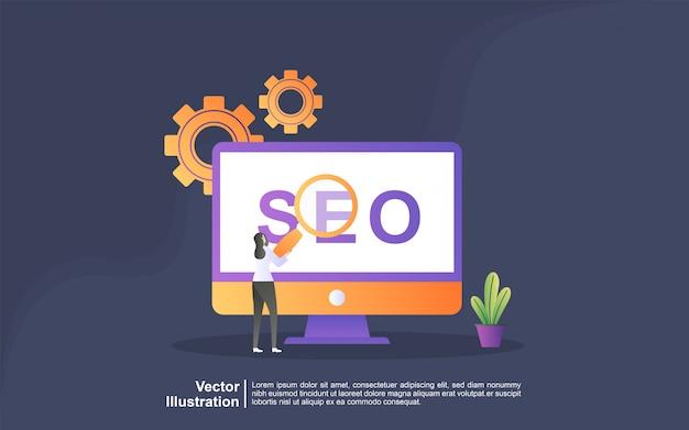 Illustration concept of seo strategy. digital marketing, digital technologies, social media marketing, online marketing concept. can use for, landing page, template, ui, web, mobile app, banner Premium Vector