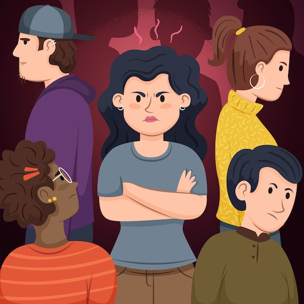 Illustration concept with angry person in crowd Free Vector