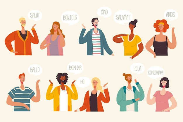 Illustration concept with multiple languages conversations Free Vector