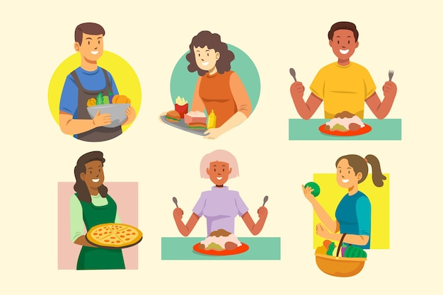 Illustration concept with people with food Free Vector