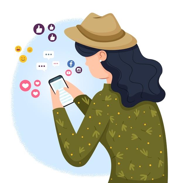 Concetto dell'illustrazione con la persona dipendente ai social media Vettore gratuito